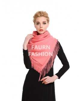 Faurn WC Womens 100% Pure Cashmere Scarves Shawls Wraps Pink