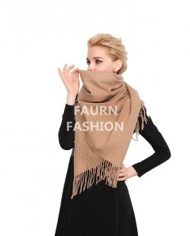 Faurn WC Womens 100% Pure Cashmere Scarves Shawls Wraps Brown
