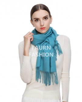 Faurn WC Womens 100% Pure Cashmere Scarves Shawls Wraps Turquoise