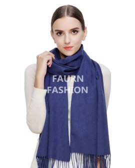 Faurn WC Womens 100% Pure Cashmere Scarves Shawls Wraps Blue
