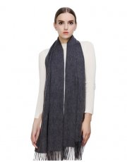 Faurn WC Womens 100% Pure Cashmere Scarves Shawls Wraps Grey