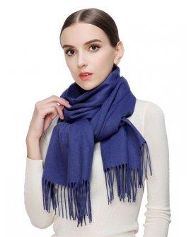 Faurn WC Womens 100% Pure Cashmere Scarves Shawls Wraps Blue