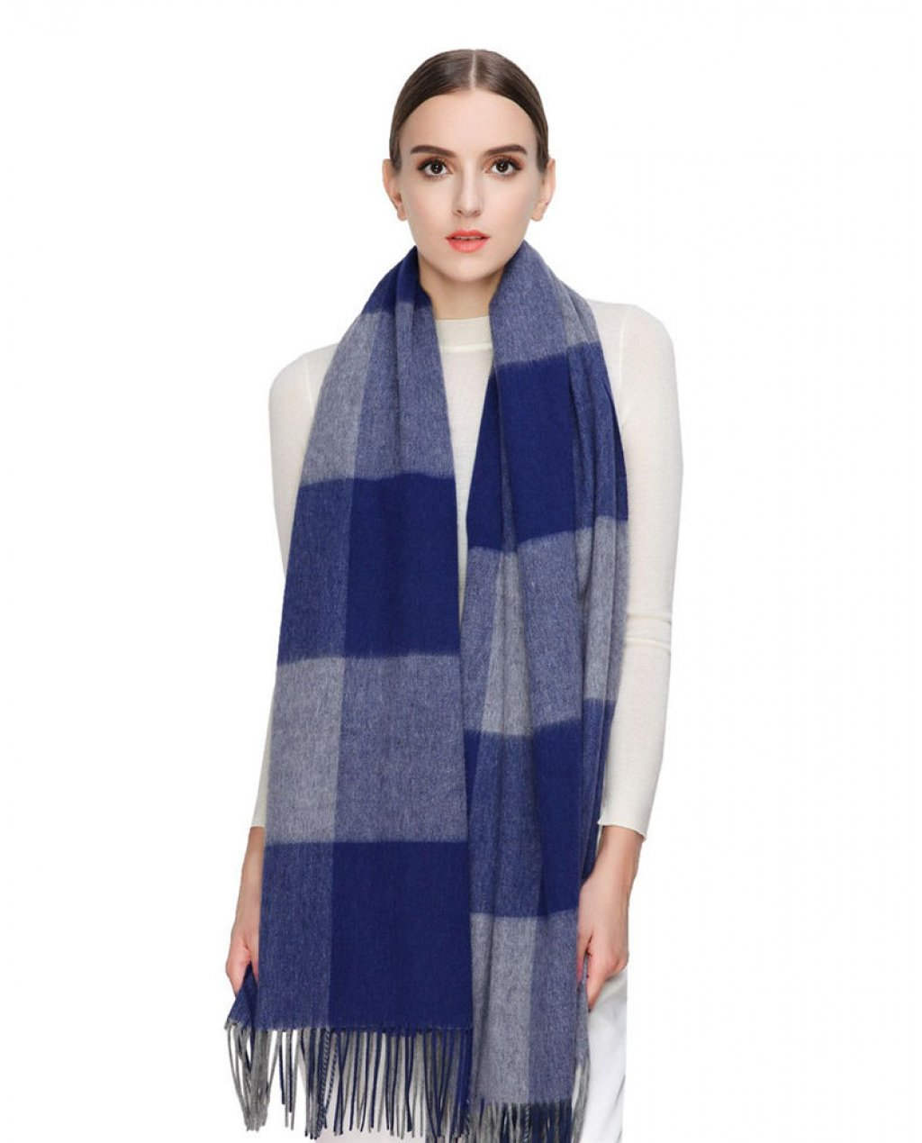 Faurn Womens 100% Pure Cashmere Scarves Shawls Wraps Blue Grey Plaids