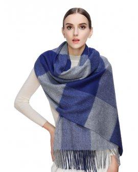 Faurn Womens 100% Pure Cashmere Scarves Shawls Wraps Blue Grey Plaids