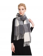 Faurn Womens 100% Pure Cashmere Scarves Shawls Wraps Grey White Plaids