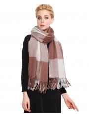 Faurn Womens 100% Pure Cashmere Scarves Shawls Wraps White Coffee Plaids