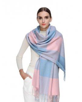 Faurn Womens 100% Pure Cashmere Scarves Shawls Wraps Pink Blue Plaids
